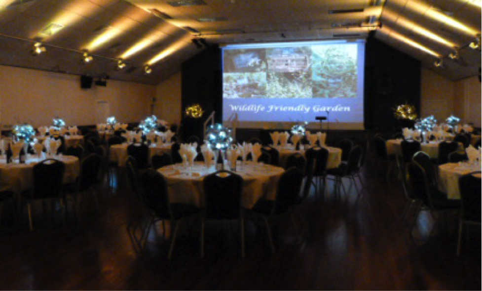 The Assembly Hall laid out for a reception event