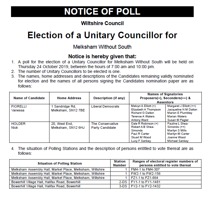 Notice of Poll Election of a Unitary Councillor October 2019